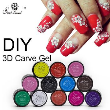 Saviland 3D Nail Art Nail Varnish Soak Off Carved Patterns UV Nail Gel Polish Manicure Tools 12 Color Sculpture Nail Glitter Gel