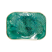 Malachite Ceramic Soap Trinket Dish