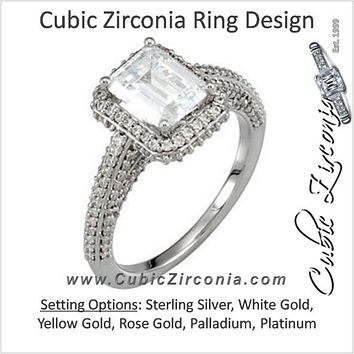 Cubic Zirconia Engagement Ring- The Cher (Emerald Cut or Radiant Cut Halo with Three-Sided Pavé Band)