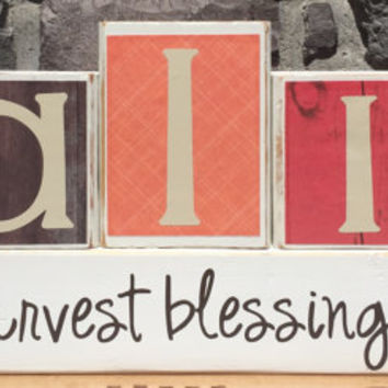 Fall Harvest Blessings Custom Reversible Wooden Block Home Decor