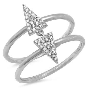 Double Triangle Ring, Diamond Pave Triangle Ring, 0.14CT 14K White Gold Double Band Triangle Diamond Statement Ring