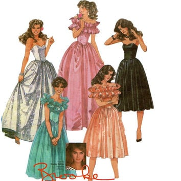 Vintage 80s DRESS PATTERN McCalls 8950 Brook Shields Strapless Off Shoulder Ruffles Cocktail Evening Wedding Gown Bust 30.5 Sewing Patterns