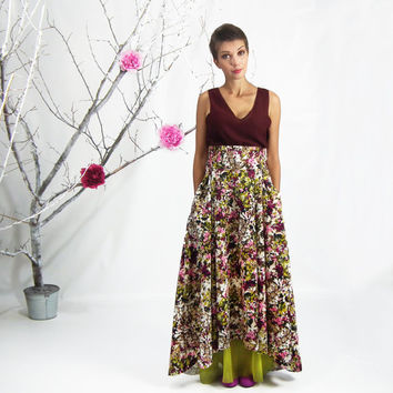Maxi Skirt, High Low Skirt, Full Skirt, Circle Skirt, Long Floral Skirt, Plus Size Skirt, High Waisted Skirt, Bridesmaid Skirt with Pockets