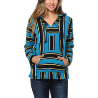Senor Lopez Girls Blue, Black & Yellow Stripe Poncho at Zumiez : PDP