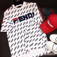 """Fendi"" Women Casual Fashion Retro Letter Embroidery Logo Short Sleeve T-shirt Top Tee"