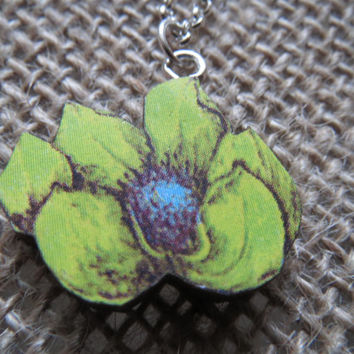 Hand Crafted - Laser Cut Wood Flower Pendant - 16mm - Yellow, and Blue - 24in Silver Chain