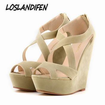 Loslandifen brand New women's pumps high heels sandals shoes women wedge peep toe plat