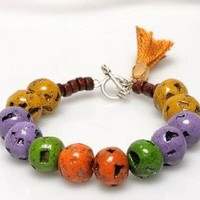 Harvest Warm Color Beads Bracelet, Beaded Bracelet, Purple, Orange, Green and Mustard Volcanic Beads with Mustard Tassel