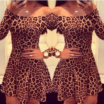 New Leopard Print Strapless Dress Women Fashion Boat Neck Sexy Dress S/M/L/XL = 1956658500