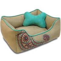 Embroidered Boho Bohemian Heavy Duty Dog Bed