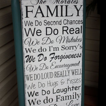 Family Rules Sign, personalized gift, Hand painted, wood sign, rustic, mothers day, Wedding gift - housewarming gift