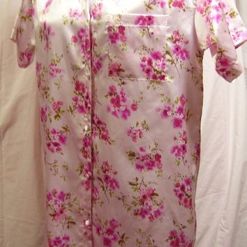 Satin, Pink Floral, Night Gown, Sleep Shirt Style, Size Large, Vanity Fair, Resort Cruise Wear