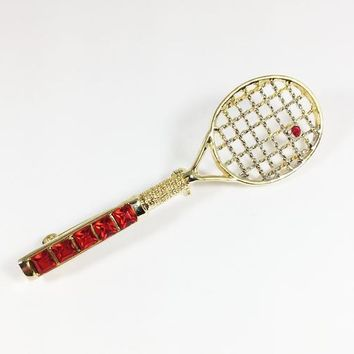Gold Tone Rhinestone Tennis Racket Brooch Vintage 1970s 1980s Figural Sports Theme Pin Square Round Red Rhinestones Handle & Ball