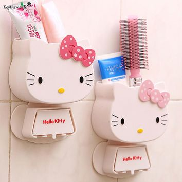 Keythemelife 1 PC Cartoon Toothbrush Holder Hello Kitty Storage Box Bathroom Accessories Paste Container For Bathroom 2C