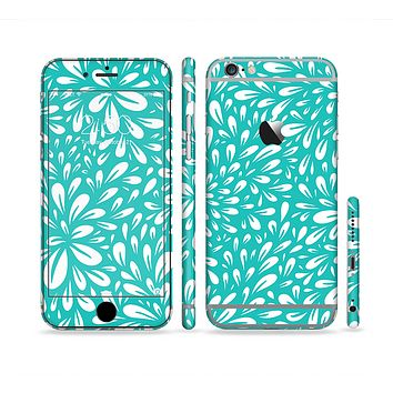 The Teal and White Floral Sprout Sectioned Skin Series for the Apple iPhone6s Plus