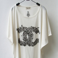 Chanel Inspired Floral Logo Tank Top Oversize by InfinitStyle
