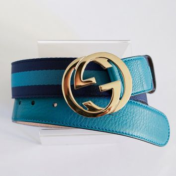 GUCCI web nylon + leather blue stripe belt with gold interlocking G buckle 85 34