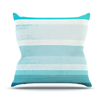 "CarolLynn Tice ""Waves"" Blue Aqua Throw Pillow"