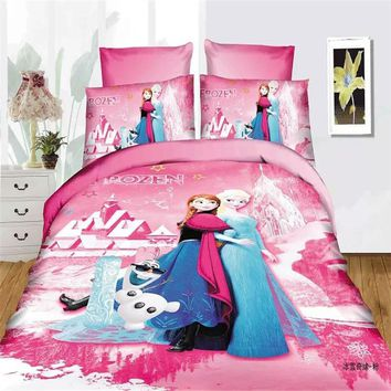 Disney frozen girls bedding set duvet cover bed sheet pillow cases twin single size pink