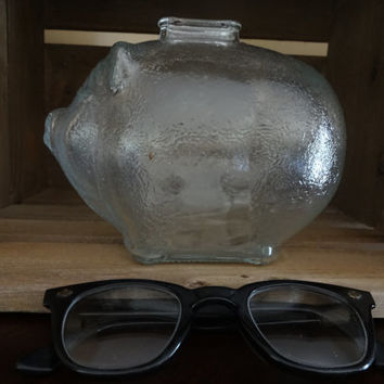 Vintage Clear Glass Anchor Hocking Piggy Bank, Cute Home Decor and Great for Collecting