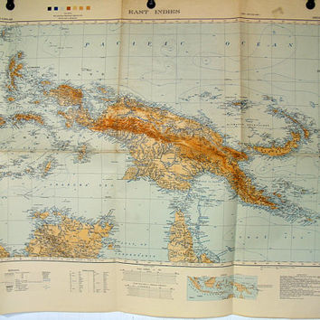 Army Map Service East Indies Map First Edition 1942 AMS 1 For use by War and Navy Department Agencies - Large Vintage Three Color Map Poster