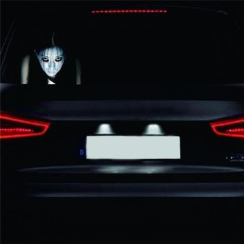 Car-styling Auto Rear Window Ghost Stickers 3D Halloween Car Sticker Reflective Horrible Car Body Sticker Skull Long Hair Lady