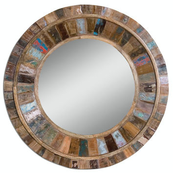 "Bohemian Painters Palette 32"" Reclaimed Mango Wood Boho Glass Home Decor - Free Shipping"