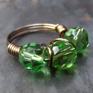 Green Crystal Ring:  Peridot, August Birthday, Antiqued Brass Wire Wrapped, Size 7, Custom Size