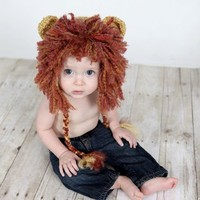 Newborn Lion Hat, Baby Lion Hat, Baby Crochet Hat Photo Prop