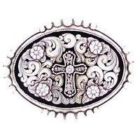M&F Silver Buckle With Cross