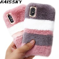 Haissky Colorful Hair Fur Case For iPhone X 8 8 Plus 7 7 Plus Soft Phone Case Luxury Back Cover For iPhone 6 6s Plus Case Coque