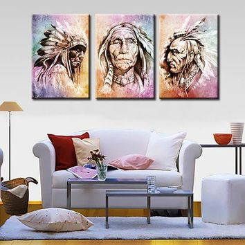 HD print 3 pcs canvas wall art native american chiefs canvas painting home decor wall art picture for living room decor /PT0872