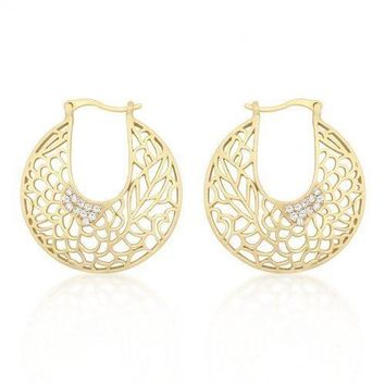 Matte Gold Floral Filigree Hoop Earrings (pack of 1 ea)