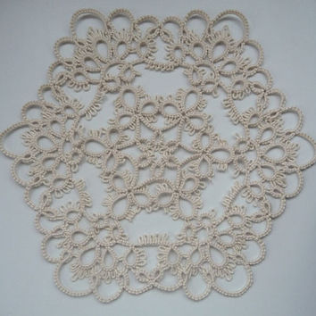 Handmade doily ivory - Home decor - Housewarming - tatting - handmade lace - table decor - birthday gift -