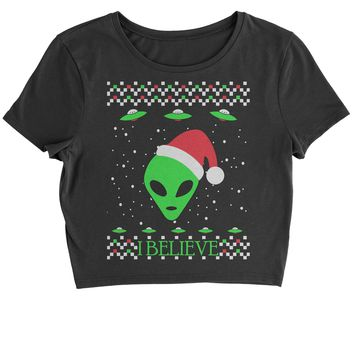 Aliens I Believe In Aliens Ugly Christmas Cropped T-Shirt