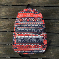 Women's Canvas Ethnic Elephant Geometry Backpack Travel Bag Outdoor Daypack