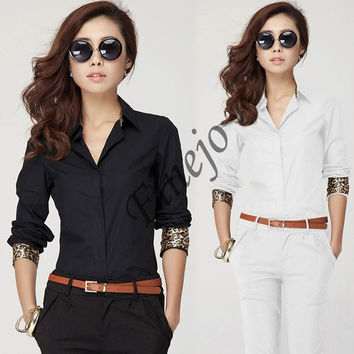 Long Sleeve OL Shirt Button Down Shirt Women 2 Colours Career Tops Blouse  SV007463 = 1901805700