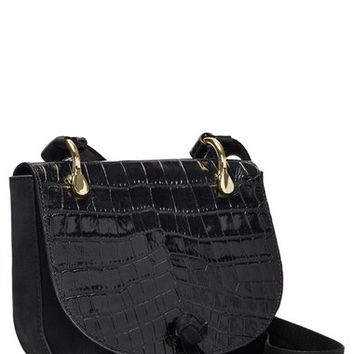 Elizabeth and James 'Zoe' Croc Embossed Leather Saddle Bag | Nordstrom