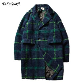 New 2017 winter fashion double breasted plaid turn-down long coat men thicken cotton liner mens overcoat erkek mont NDY11
