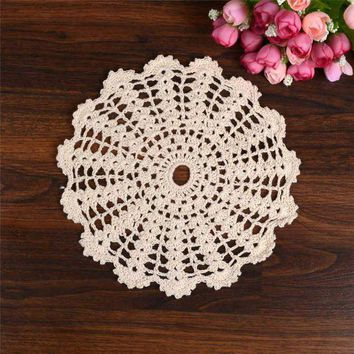 ONETOW Hand Crochet Lace Table Placemat Wedding Decor Retro Table Cup Mat Decor Coffee Cup Drink Placemat Coasters Round Cotton Yarn