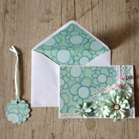 Crafted post card with envelope - greeting card - tender pastel mint grey rustic - summer trend lace flowers - europeanstreetteam