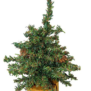 """6"""" Carmel Pine Cone Artificial Christmas Tree with Wood Base - Unlit"""