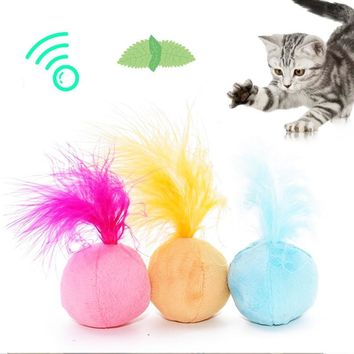 Cat toys Kitten Play pet cat supplies Interactive Cat Teaser ball hair ring Fun Toy Sound catnip toys feather teaser 1PC