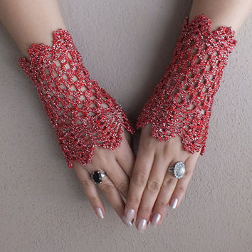red love .... Valentines Day gifts, red victorian glove crochet lace gloves fingerless glove free ship, wedding glove,