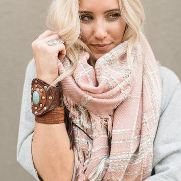 Textured Pink Plaid Scarf