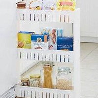 ROLLING SLIM KITCHEN STORAGE CABINET SHELF ORGANIZER Can Spice Food Holder Cart