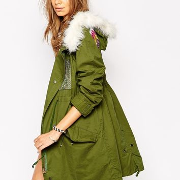 Native Rose Parka with Faux Fur Trim