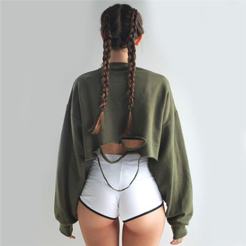 New Style Women Hoodies Sweatshirts Streetwear O-Neck Long Sleeve Solid Holes Fashion Sweatshirts Casual Crop Top Hoodie GV342