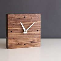 "Handcrafted 5.5"" square desk clock walnut wood with glossy white tapered hands"