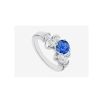 Engagement Ring with Sapphire and Bezel Set Cubic Zirconia in 14K White Gold 1.70 Carat TGW